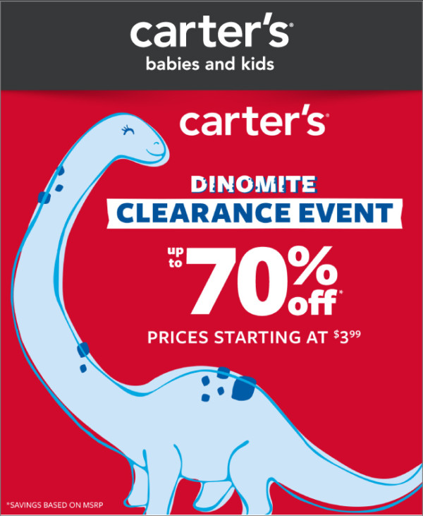 Carter's Dinomite Clearance Event — Up To 70% Off
